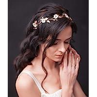 Unicra - Diadema de novia, de boda, con cristales, para el pelo, diseño de flor de vid, perla, accesorio para el cabello…