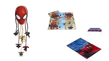 ALMACENESADAN 1129, Pack decoración Fiesta y cumpleaños Spiderman; Compuesto por piñata, Mantel de Fiesta de plástico 120x180 cm y Pack de 20 ...