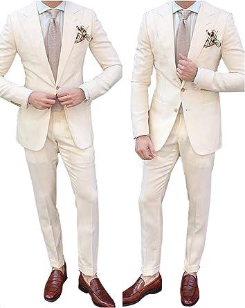 YYI Homme Costume Beige pour 2 pièces Costume