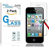 iPhone 4S Screen Protector - KATIN [2-Pack] Apple iPhone 4 , iPhone 4S Premium Tempered Glass 9H Hardness , Anti-Fingerprint , Bubble Free with Lifetime Replacement Warranty