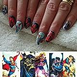 12 sets Wonder Woman Batman Superman NAIL DECALS Marilyn Monroe anime cosplay NAIL ART dc comic dbz tokyoghoul NAIL WRAPS superhero party decor marvel comic cartoon pin up girl nail accessories K-POP