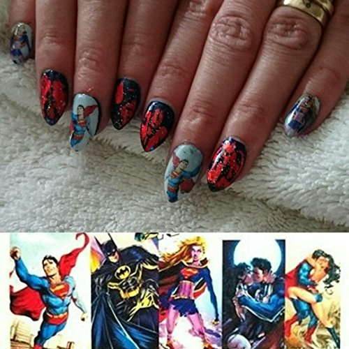 12 sets Wonder Woman Batman Superman NAIL DECALS Marilyn Monroe anime cosplay NAIL ART dc comic dbz tokyoghoul NAIL WRAPS superhero party decor marvel comic cartoon pin up girl nail accessories K-POP
