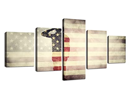 3efcbf0b400 Retro American Flag Canvas Wall Military Pictures for Living Room Print USA  Modern Painting 5 Panels