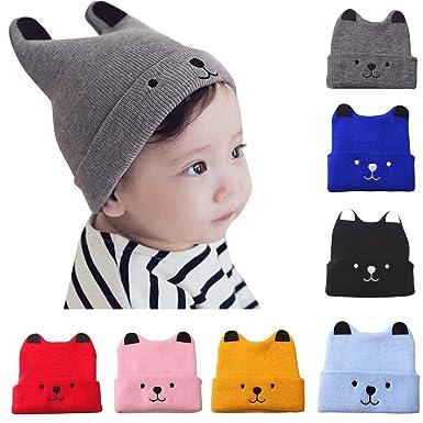 7a908c8fc Amazon.com: Moonper Clearance ! Children Knit Hat, Baby Infant Kid Soft Winter  Warm Cartoon Bear Crochet Beanie Cap, 1-3 Years (Black): Clothing