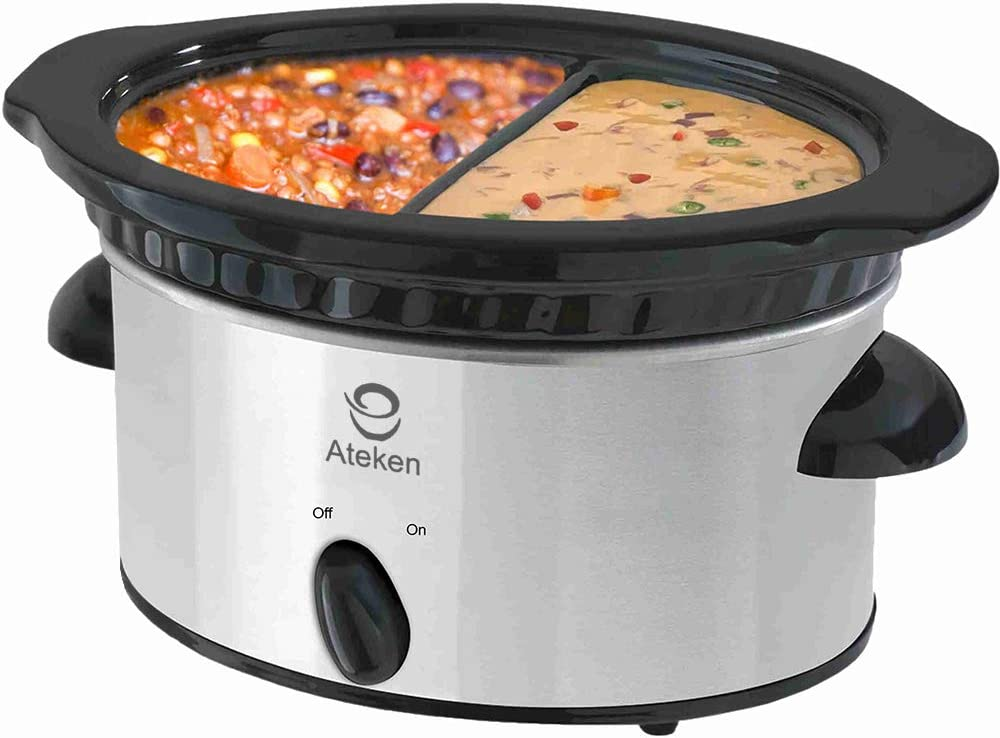 Ateken Slow Cooker 2x0.5 Quart Oval Double-Flavor Pot with Tempered-Plastic Lid and Black Ceramic Pot Stainless Steel Silver