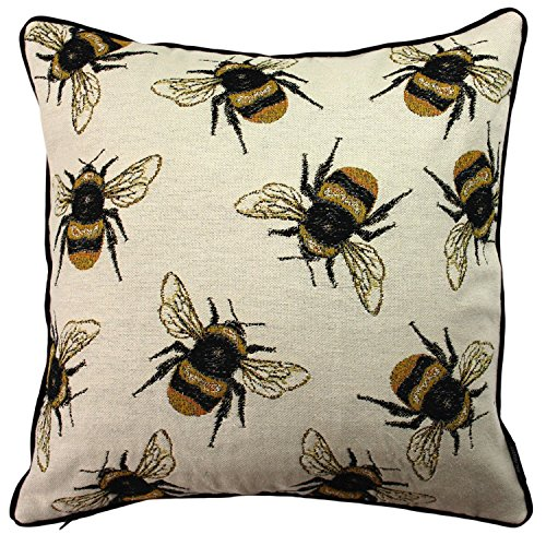 McAlister Textiles Bugs Life | Woven Tapestry Honey Bumble Bees Filled Pillow | Yellow Embroidered 16x16 Toss Cushion | Textured Linen, Crewel Needlepoint | Country Accent Decor