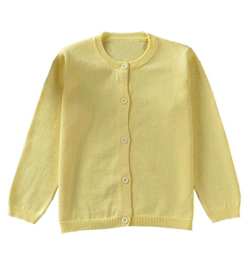 Guandiif Girl Cardigans Long Sleeve Crewneck Cardigans Solid Knit Button Sweater Cardigan for Baby Girl 6-7Y Light Yellow