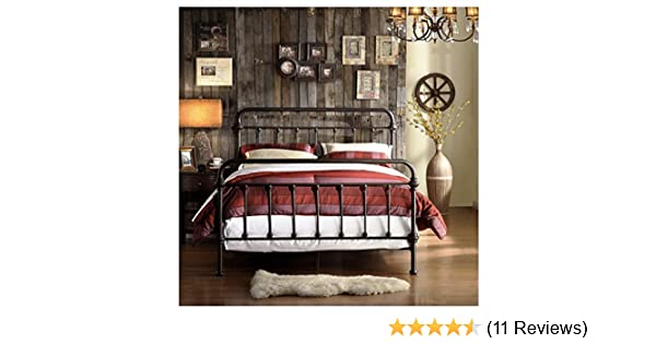 Amazon Wrought Iron Bed Frame Dark Bronze Metal Queen Size Free Shipping USA Vintage Look Shabby Chic French Country Kitchen Dining