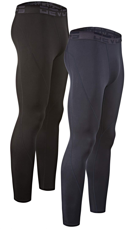 DEVOPS Men's 2 Pack Thermal Heat-Chain Compression Baselayer Long Johns Pants (Medium, Black/Navy) by DEVOPS