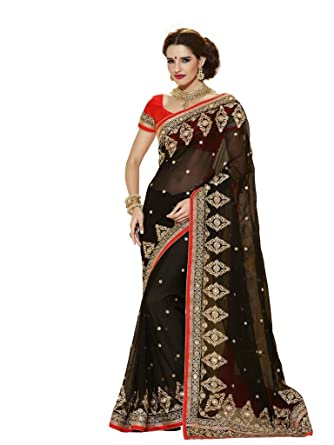 578c630bee1d2d Vipul Women s Heavy Embroidery Black Georgette Saree Free Size  Multi-Coloured