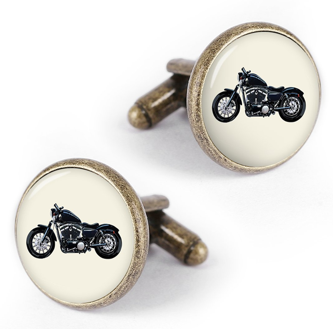 Kooer Motorcycle Cufflinks Custom Personalized Wedding Cuff Links Handmade Vintage Bronze Cufflinks Tie Clip (style 1)