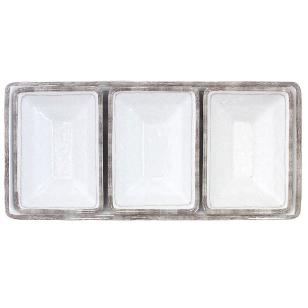 Le Cadeaux Rustica 4 Piece Dip or Appetizer Set, White 300RUSW