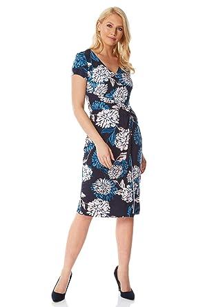 a3bbdf7db486 Roman Originals Women Floral Print Wrap Dress - Ladies V-Neckline Short  Sleeve Knee Length Business Work Office Smart Summer Jersey Dresses   Amazon.co.uk  ...