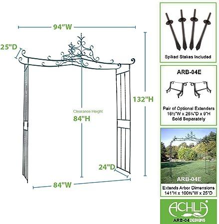 Achla diseños Chippendale 11-ft. Hierro Pergola Arbor: Amazon.es: Jardín