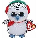 Ty 36221Nester–Snowy Owl 15cm Beanie Boo's, White, Green, Red, Black