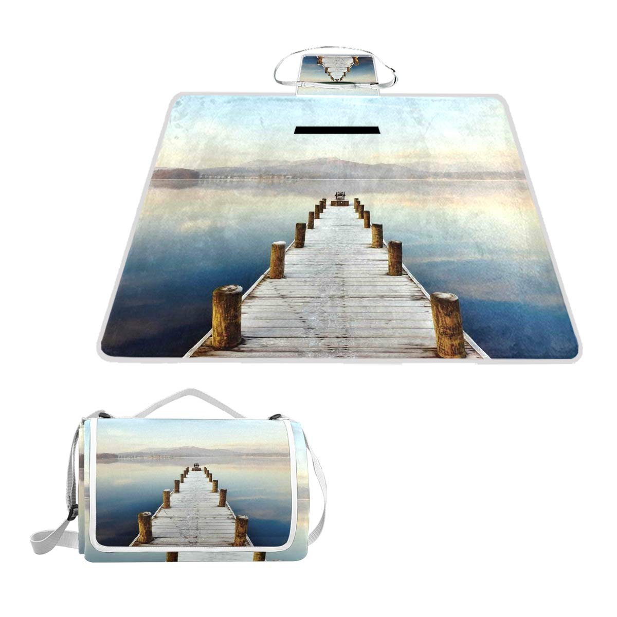 KVMV Wooden Jetty to Lake with Distant Hills Seascape Tranquility Calm Scenery Picnic Mat Sandproof and Waterproof Outdoor Picnic Blanket for Camping Hiking Beach Grass Travel by KVMV