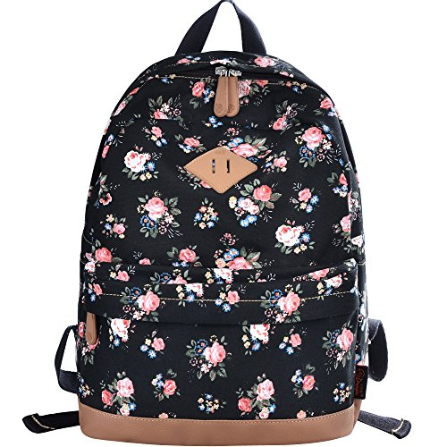 - DGY Womens Peony Pattern Design Korean Fashion Casual Preppy Style Backpack G00133 Black