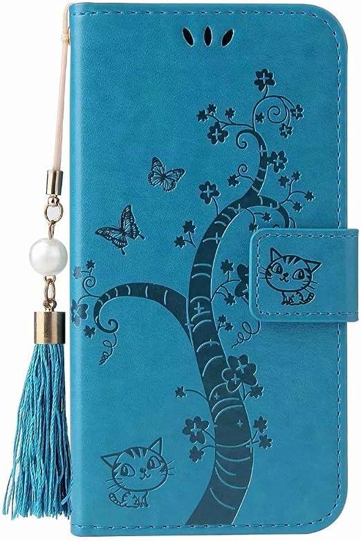 Honor 8A PU Pelle Antiurto Notebook Wallet Case Goffrato Girasole Mandala con Cavalletto Funzione Slot Carte Chiusura Magnetica Slim Flip Cover Protettiva Blu Blue Bumina Huawei Y6 2019 Custodia