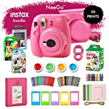 NeeGo Instax Mini 9 Instant Camera Bundle–Deluxe Kit with Camera, Matching Case & 4 Fun Film Packs–Rainbow, Stained Glass, Monochrome & White 50 Exposures for Instant Creative Photos-Flamingo Pink