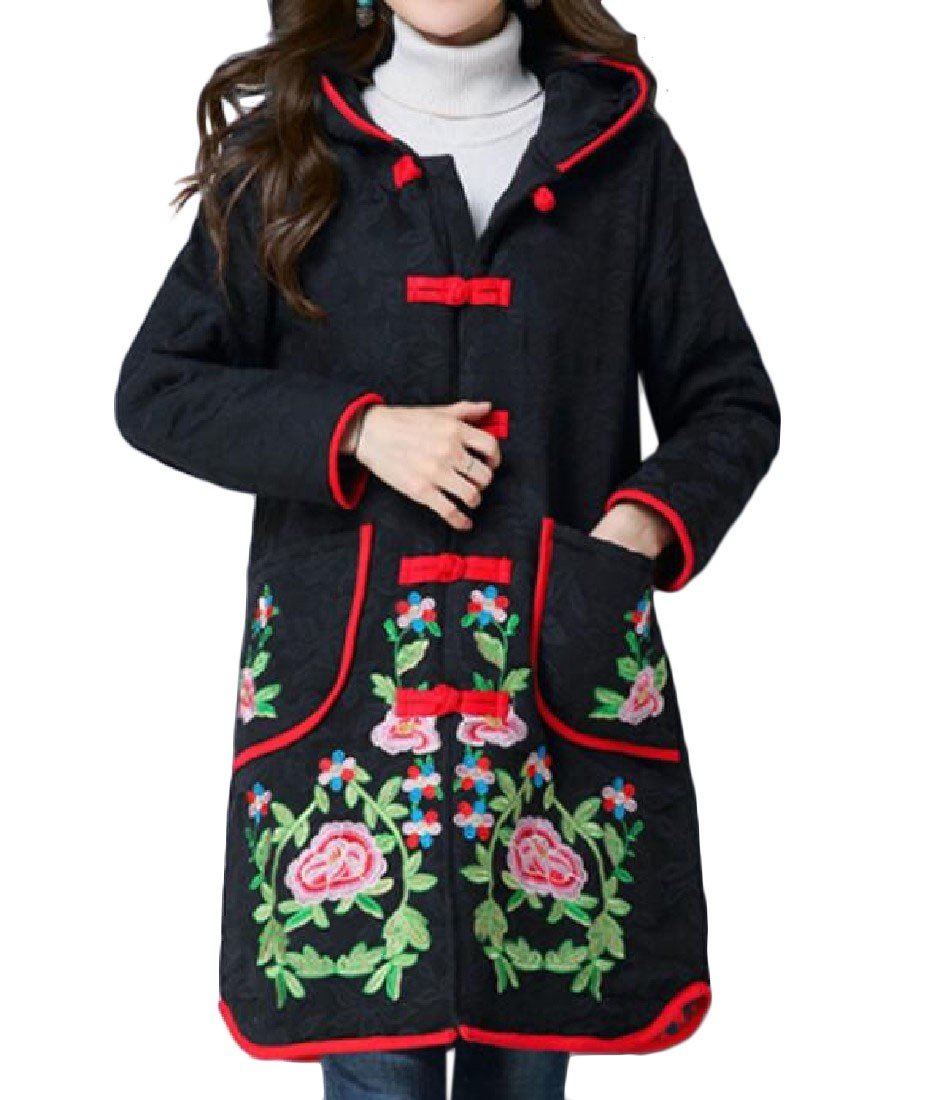 Coolred-Women Hood Basic Cotton Folk Style Embroidered Windbreakers Black L