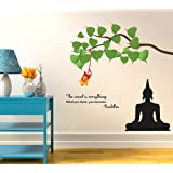 Wallstick Buddha with Quotes wallstickers (Vinyl 110 cm x 100 cm)
