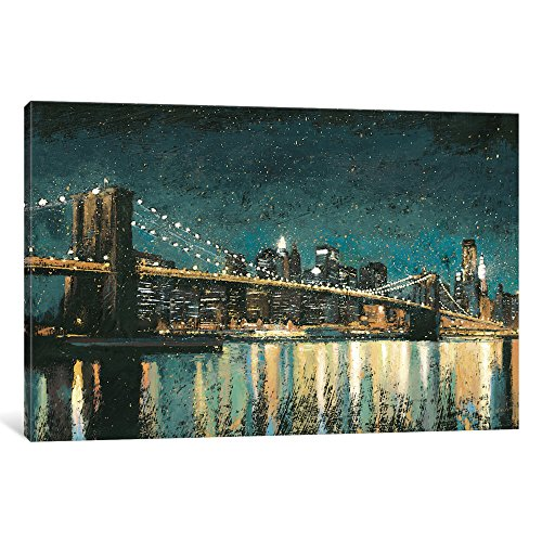 iCanvasART WAC3867 Bright City Lights II (Teal) Gallery Wrapped Canvas Art Print by James Wiens, 18