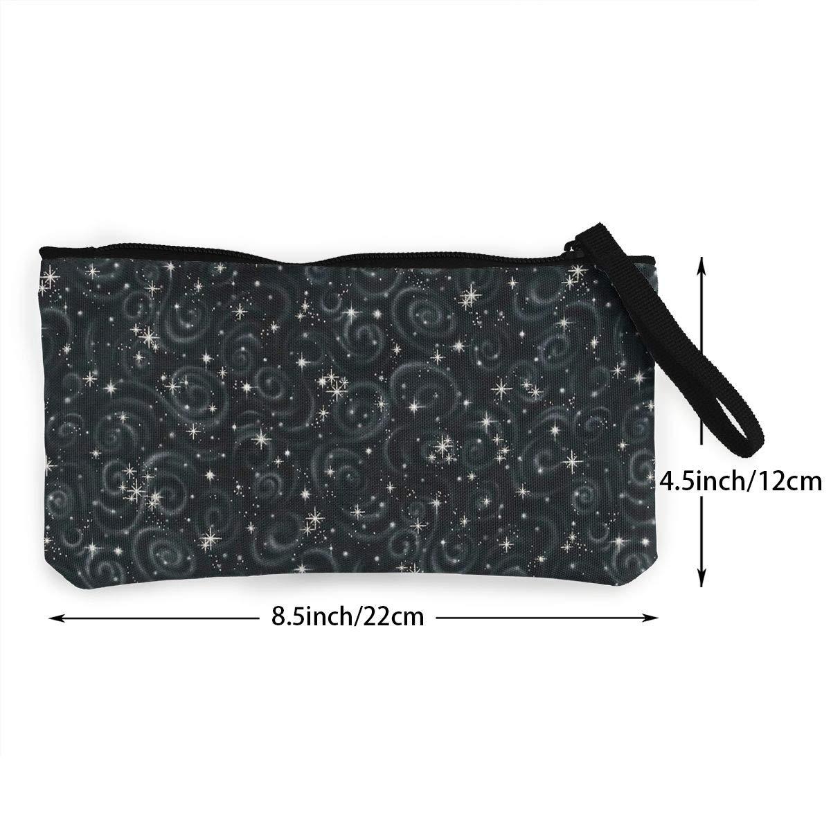 DH14hjsdDEE Black Stargazers Star Texture Metallic zipper canvas coin purse wallet Cellphone Bag With Handle Make Up Bag