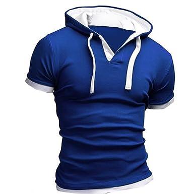 BlueSterCool Hombre Camisetas de Manga Cortas, Capucha: Amazon.es: Ropa y accesorios