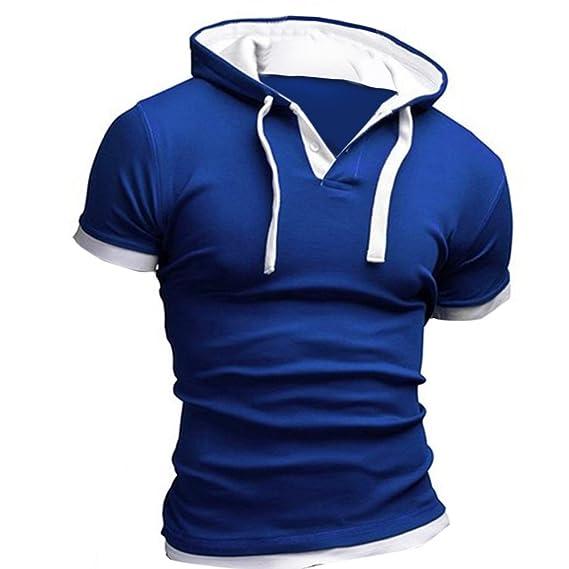 BlueSterCool Hombre Camisetas de Manga Cortas, Capucha