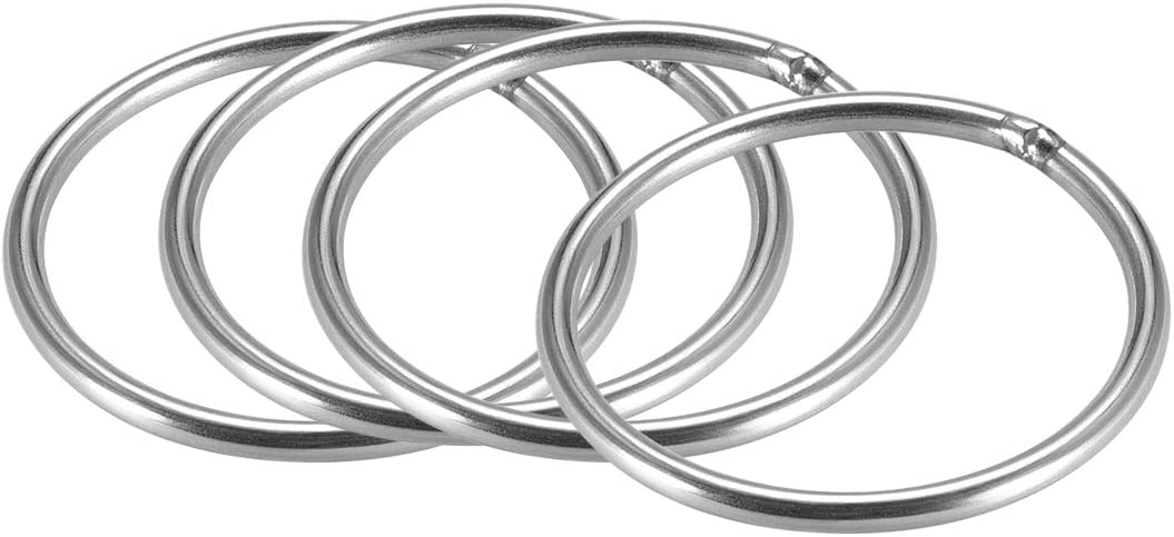 uxcell Stainless Steel O Ring 2-inch Outer Diameter 1//8-inch Thickness Welded Round Rings 4pcs