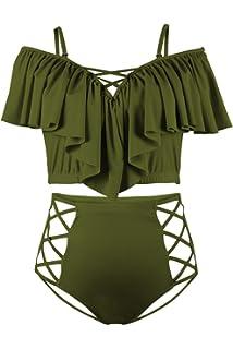 e13bbb95da3 Kisscynest Women's Plus Size Off The Shoulder Ruffles High Waist Bikini Sets