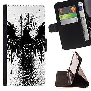 - Crow Raven Black Bird Wings Graffiti Stencil - - Prima caja de la PU billetera de cuero con ranuras para tarjetas, efectivo desmontable correa para l Funny HouseFOR Apple Iphone 5C