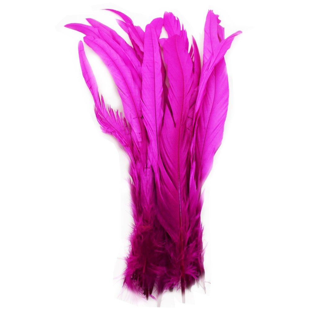 everyshine 120pcs Multi-Colors teñido Loose Rooster Tail feathers12–14pulgadas (rosa) Shaoye