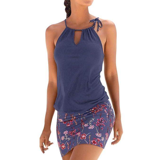 Vestido mujer verano Mini vestido casual sin mangas de playa de impresión retro de mujeres vestido