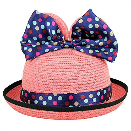 LOCOMO Girl Cute Colorful Mouse Ear Ribbon Bow Wide Brim Straw Hat FBH009PNK (Cheap Minnie Mouse Ears)
