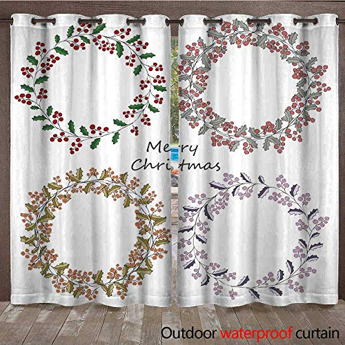 RenteriaDecor Outdoor Ultraviolet Protective Curtains Four Wreath of Holly Christmas Greeting Greeting Card W72 x L84