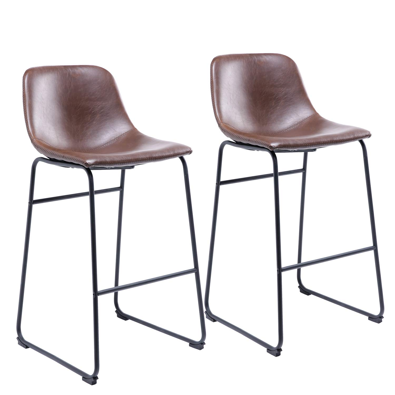 Amazon Com Rfiver Counter Height Barstool Chairs Vintage Pu Leather