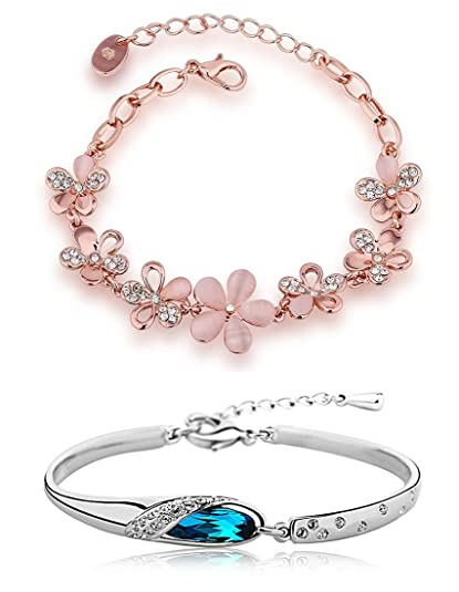 Buy Shining Diva Fashion Combo of Two Crystal Charm Bracelets for Girls &  Women at Amazon.in