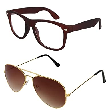 d441f89bb35 Sheomy Combo Pack of Full Rim Unisex Spectacle Frame and Golden Brown UV  Protected Sport Unisex