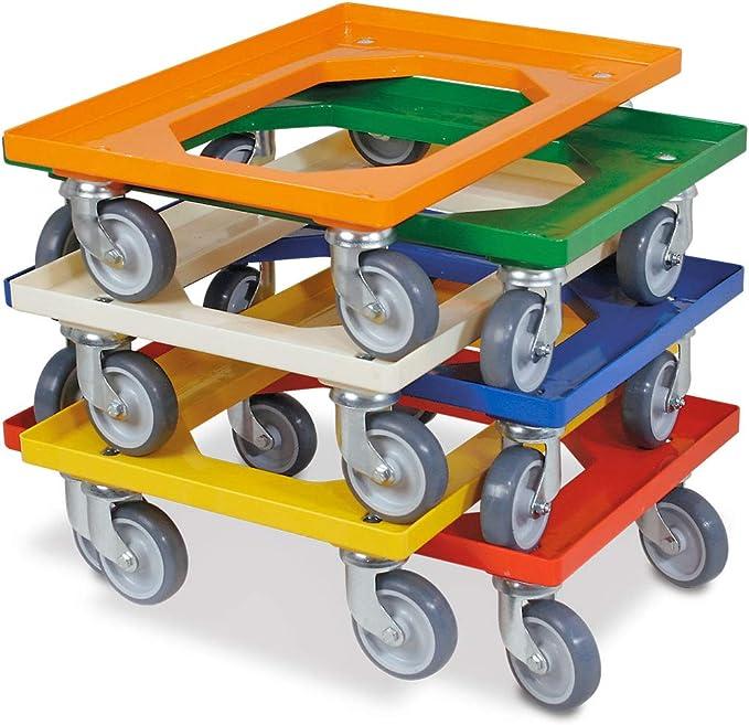 orange Set je 1 Roller in blau wei/ß 5x Logistikroller//Kistenroller f/ür Beh/älter 600 x 400 mm gelb rot