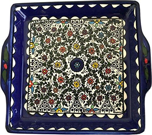 - Holy Land Market Armenian Ceramic Jerusalem Flowers square Bread/Matzah Seder Plate - 9.5 Inches - Asfour Outlet Trademark