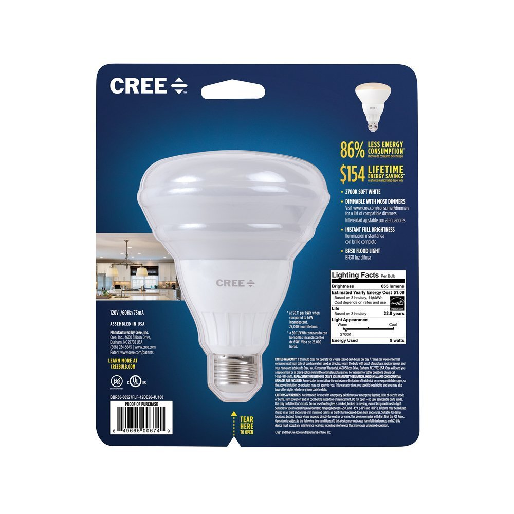 Cree BBR30-06527FLF-12DE26-3U100 Cree 65W Equivalent Soft White (2700K) BR30 LED Flood Light Bulb, (2 pack) - - Amazon.com