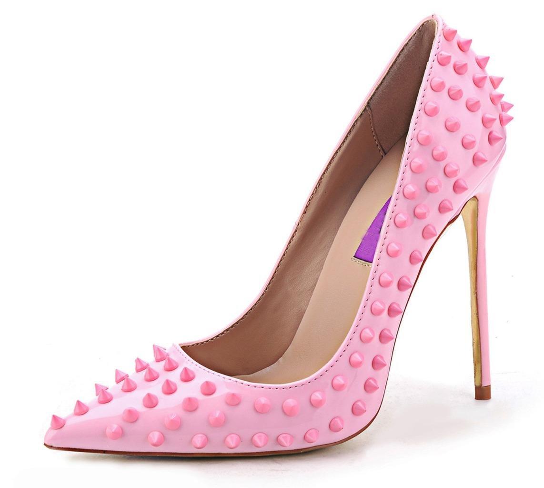 Jiu du Women's High Heel for Wedding Party Pumps Fashion Rivet Studded Stiletto Pointed Toe Dress Shoes B07917GFL7 US11/CN45/Foot long 27.5cm|Pink Pu