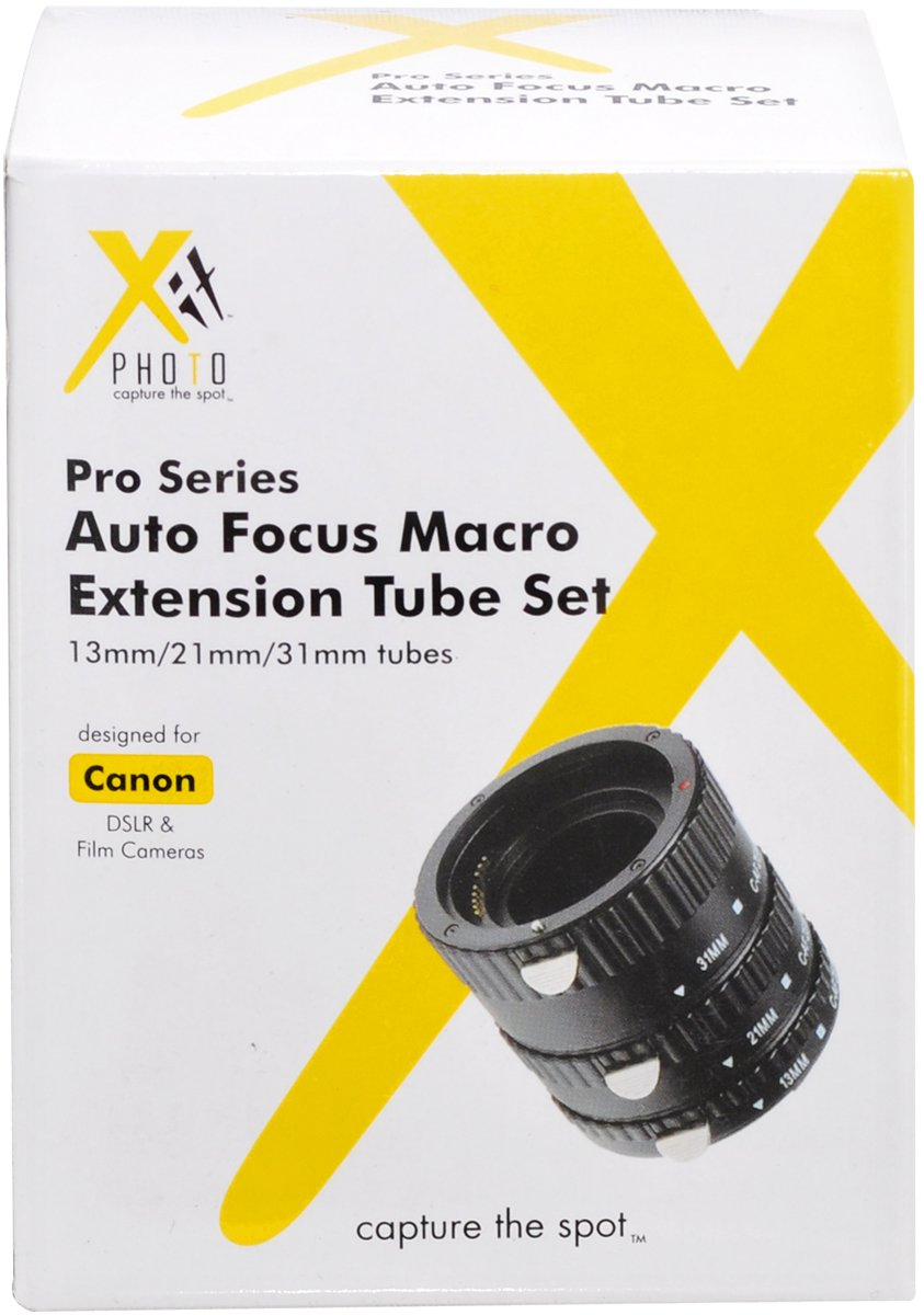 Xit XTETC Auto Focus Macro Extension Tube Set for Canon SLR Cameras (Black) by Xit