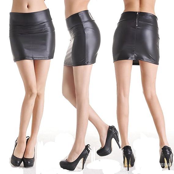 Ostenx Mini Falda para Mujer Elegante Piel Sintética Elástica ...