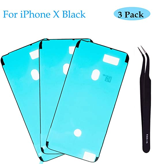 first rate 773d7 30835 Ogodeal Screen Adhesive Strips Pre-Cut Waterproof Seals for iPhone X, Water  Liquid Damage Repair Glue Replacement 3Pack (Black)