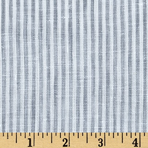 TELIO Umbria Linen Grey Big Stripe Fabric By The Yard (Linen Umbria)