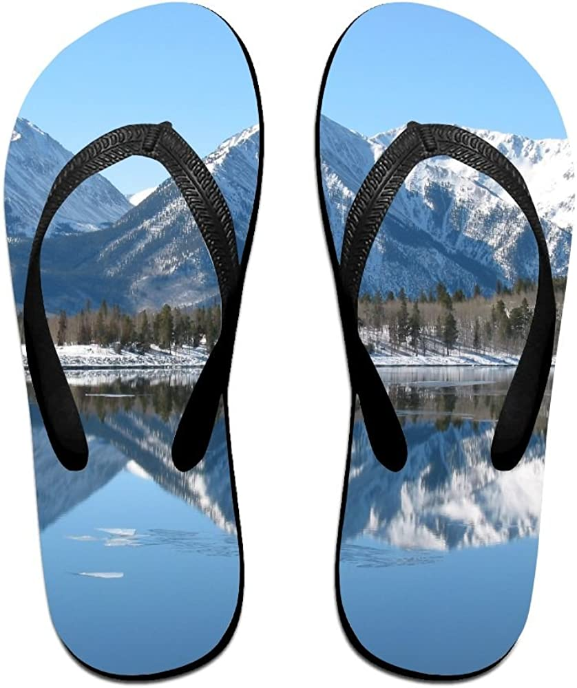 Couple Flip Flops Mountains Lake Print Chic Sandals Slipper Rubber Non-Slip House Thong Slippers