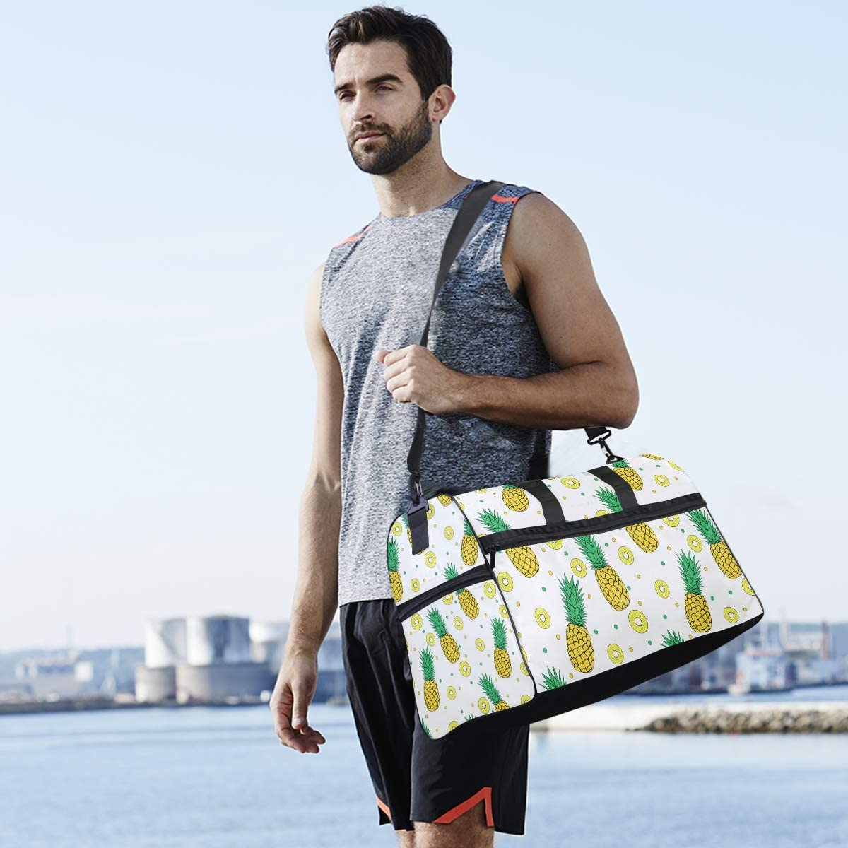 Pineapple Sports Gym Bag with Shoes Compartment Travel Duffel Bag for Men and Women