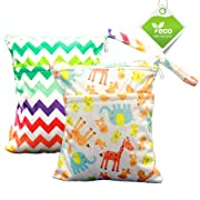 Cloudyfocus Wet & Dry Cloth Diaper Bags - 2pcs, Baby Nappy Organizer with 2 Zippered Pockets Wet Bag for Swimsuit, Underwear, Breast Pump - 12'' x 14''